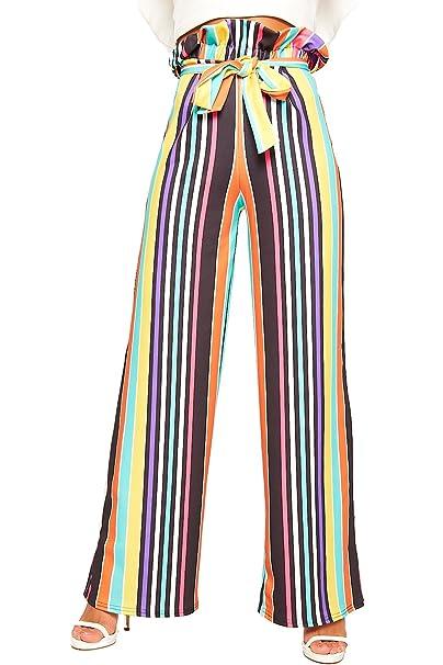 2e2e172470b WearAll Women s Rainbow Multi Striped Paperbag Flared Palazzo Trousers  Ladies Pants Belt 8-14  Amazon.co.uk  Clothing