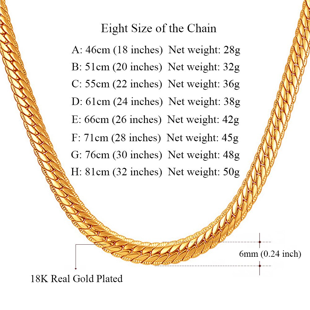 7a1b716d09715 SWOPAN 18K Gold Plated 5MM-9MM Wide Curb Cuban Figaro Snake Chain Link  Necklace for Pendant Men Women Hip Hop Fashion Jewelry with 18K Stamp 18-32  ...