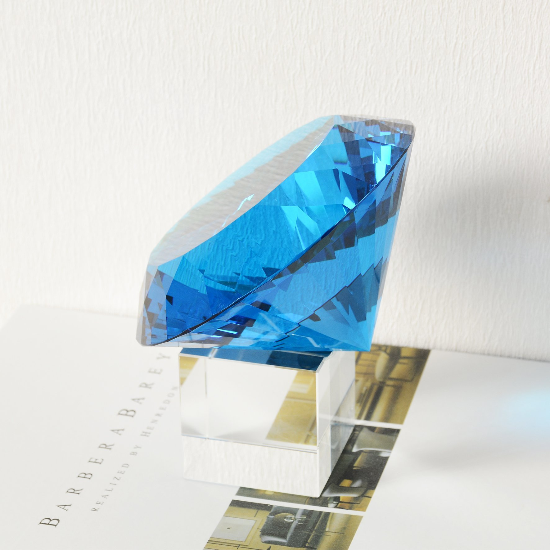 BRLIGHTING Cobalt Blue crystal Diamond Paperweight on stand for Office, Lovely Gift for Friends and Family (D120mm / 4.73'') by BRLIGHTING (Image #5)