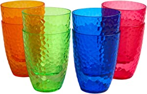 Honla Set of 8 Acrylic Plastic Tumblers,12oz Unbreakable Small Cups in 4 Assorted Colors