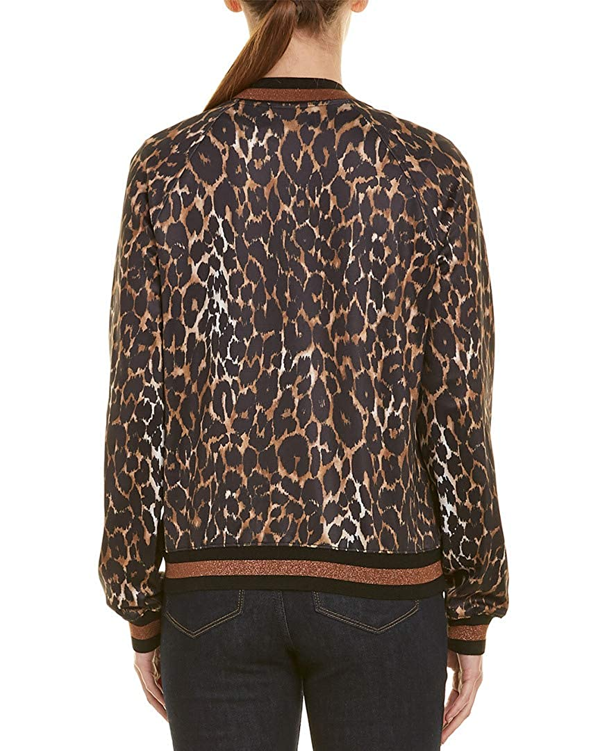 0a8f7a05c826 Amazon.com: Pam & Gela Womens Leopard Track Jacket, L, Brown: Clothing