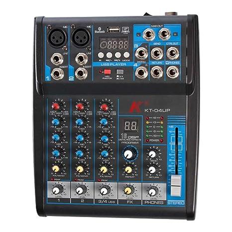 K KT-04UP - Mezclador de 4 canales con tarjeta de sonido ...