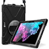 ProCase Surface Pro 6 / Surface Pro 5 / Pro 4 / Pro LTE Case, Full Body Hybrid Protective Case, 360 Degree Rotatable Heavy-Duty Cover with Adjustable Hand Strap, Shoulder Belt and Kickstand -Black