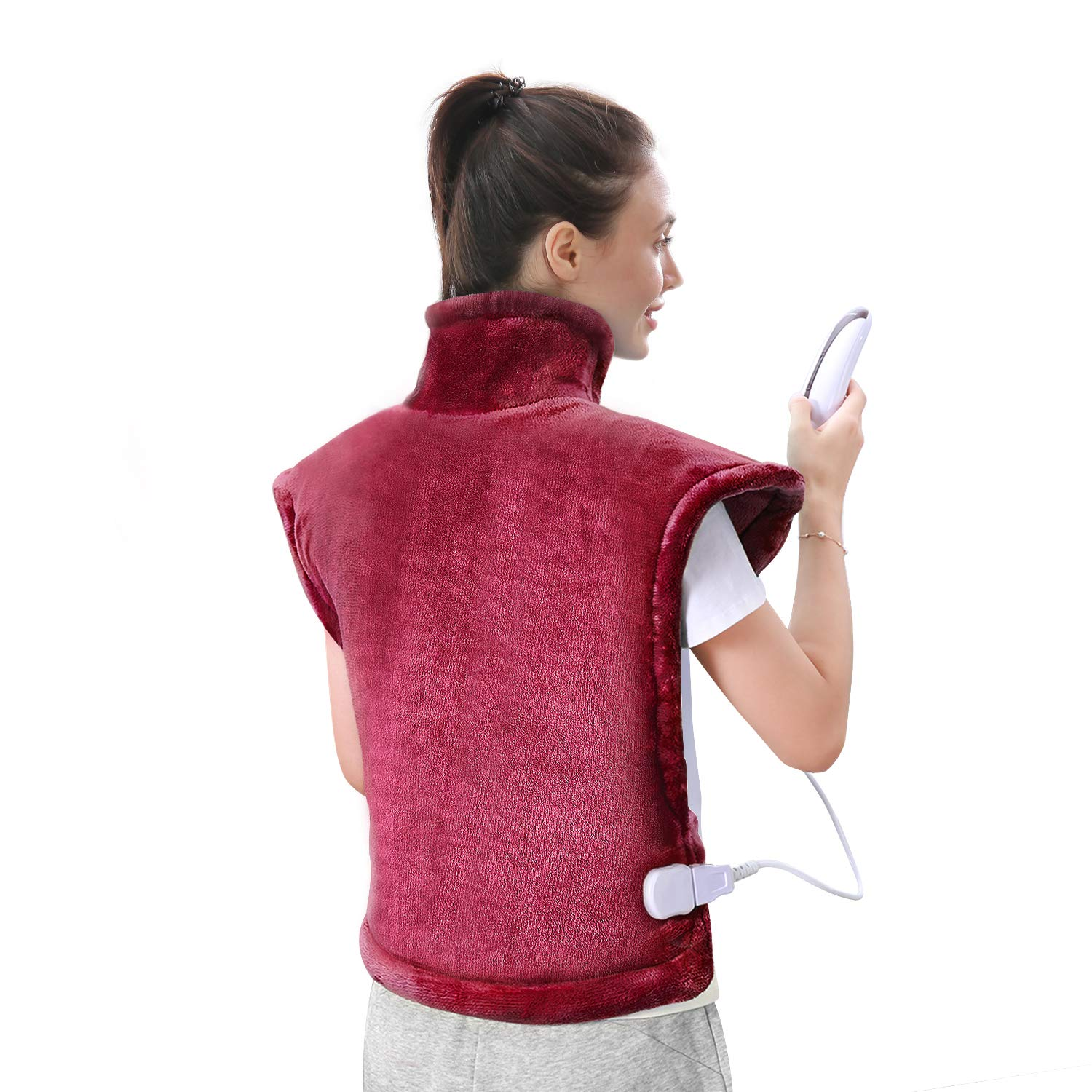 Large Heating Pad for Back and Shoulder Pain, 24''x33'' Heat Wrap with Fast-Heating and 5 Heat Settings for Sport Sorness and Cramps Relief, Auto Shut Off Available-Crimson by MaxKare