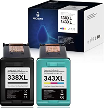 Oferta amazon: KNOWINK 338xl Cartucho de Tinta Compatible para HP 338 343 XL para HP Photosmart C3180 2710 7850 8150 PSC 1610 2355 OfficeJet 100 150 6210 7310 H470 K7100 DeskJet 460c 5740 (Negro/Color)