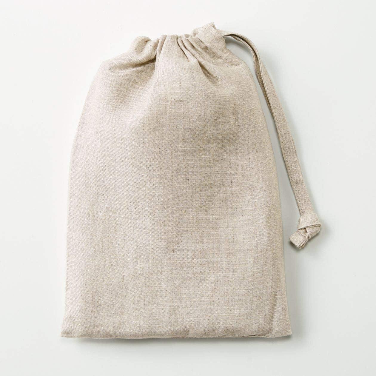 無印良品 麻平織 肩クロスエプロン 生成 身丈約90cm・巾着付