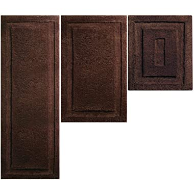 mDesign Soft Microfiber Polyester Spa Rugs for Bathroom Vanity, Tub/Shower - Water Absorbent, Machine Washable - Includes Plush Non-Slip Rectangular Accent Rug Mats - Set of 3 - Chocolate Brown