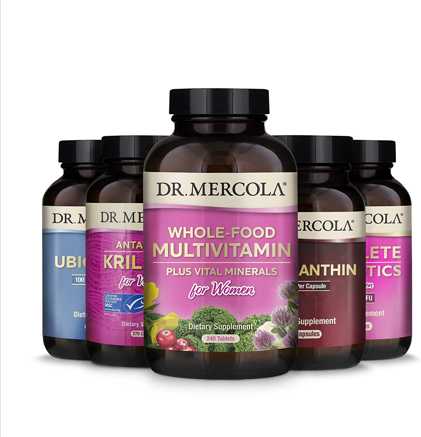 Dr. Mercola Core 5 for Women (30 Servings), Complete Probiotics for Women, Astaxanthin, Ubiquinol, Whole-Food Multivitamin for Women, Krill Oil for Women, Supports Overall Health*, Non GMO