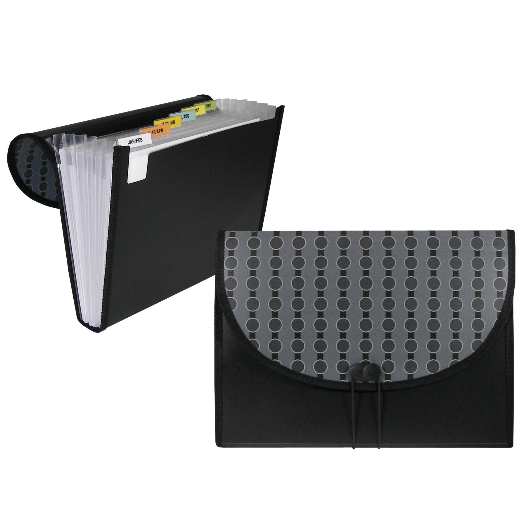 C-Line 7-Pocket Expanding File, Includes Tabs, Letter Size, 1 Expanding File, Fashion Circle Series, Black/Gray (56012)