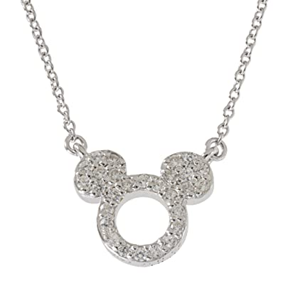 "413fc2d8c08 Disney Women's Jewelry Mickey Mouse Sterling Silver Cubic Zirconia Pendant,18""  Mickey's 90th Birthday"