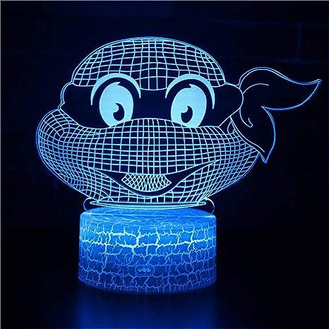 Bbdeng Luz Nocturna 3D Tortuga Ninja Gafas Toque el cambio ...