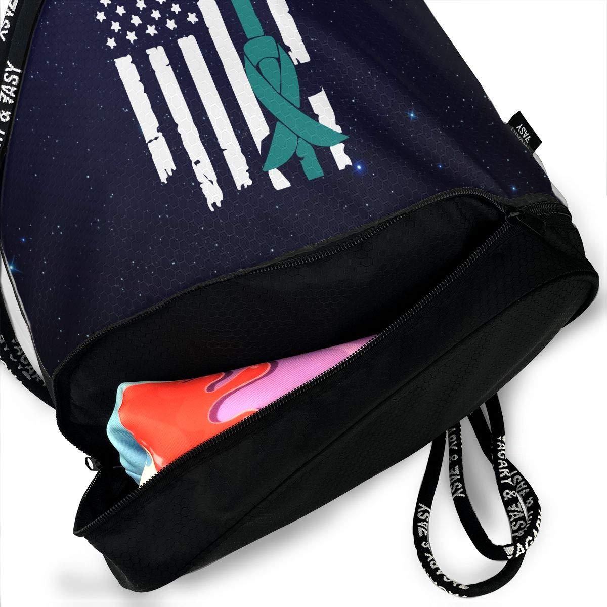 SG0HGO Drawstring Backpack Ovarian Cancer Awareness USA Flag-1 Men /& Women Yoga Dance Travel Shoulder Bags