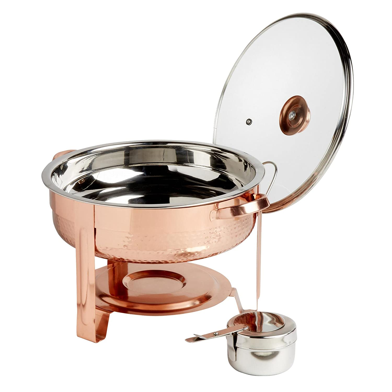 4-Quart Hammered Copper Chafing Dish Set