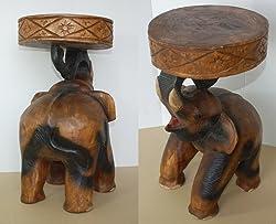 Tavolino elefante piedistallo, tavolino da caffè, sgabello, importato dalla Thailandia (10993)