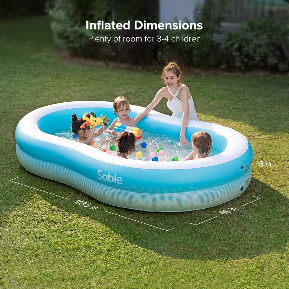Sable Inflatable Pool, Swimming Family Size Kiddie Blow Up Pool, 103 x 63 x 18 in, Easy Set Up, for Ages 3+ by Sable (Image #4)