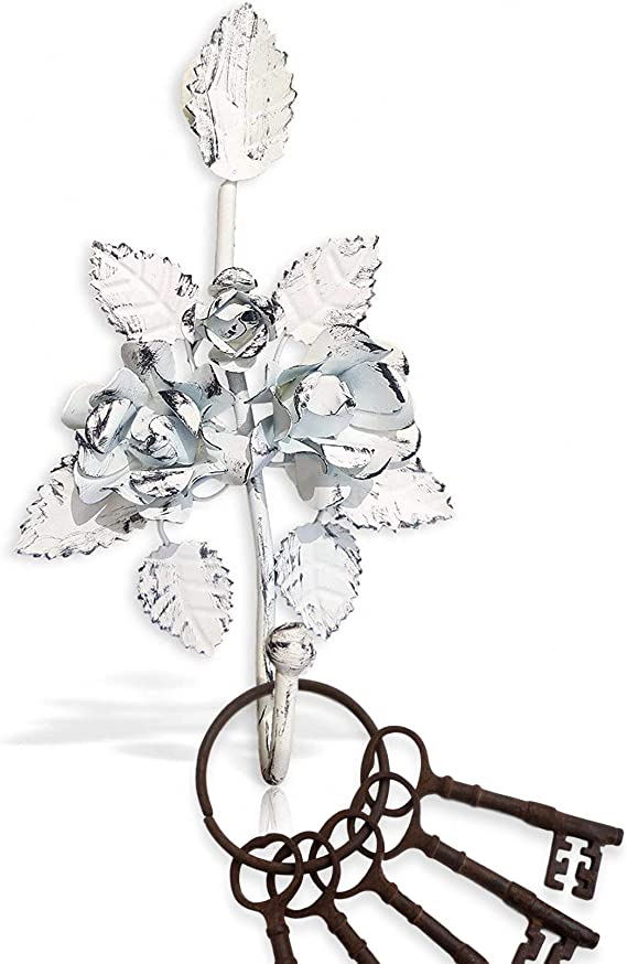 Key Holder For Wall Décor Wall Hook Decorative Shabby Chic Keys Coat Towel Hooks Pretty Glam Hook For Keys With Metal Floral Design White Office Products