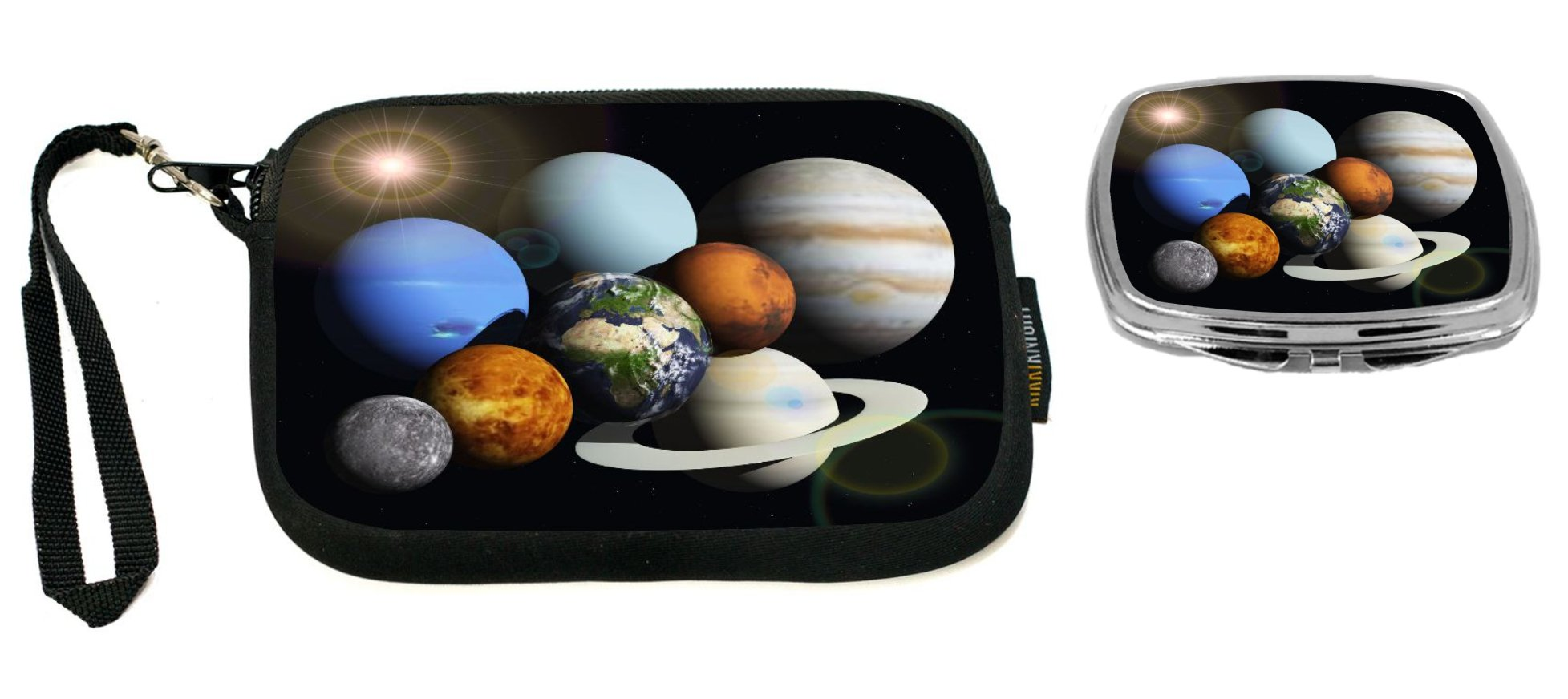 Rikki Knight Solar System Planets Design Neoprene Clutch Wristlet with Matching Square Compact Mirror
