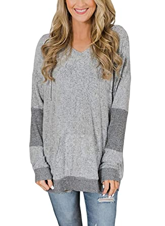 3a90ebe4941d7d Womens Sweaters Casual Baggy Color Block Shirts Long Sleeve Pullover Hoodie  Tops Gray