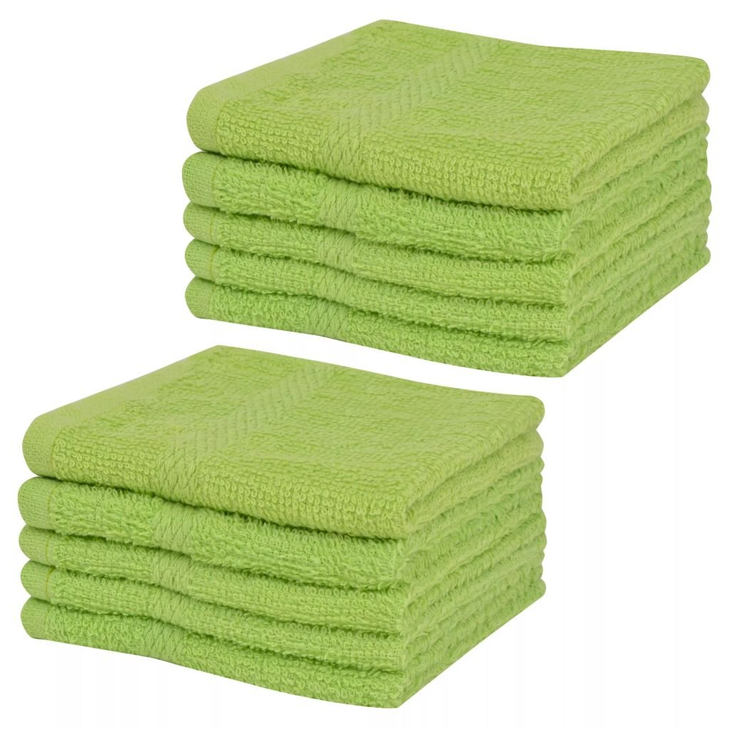 Festnight Pack of 10 Guest Towels Comfortable Green 30 x 30 cm Cotton100% Hotel&Home