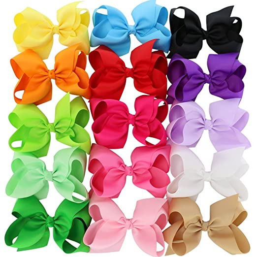 Toplay 6Inch Large Grosgrain Ribbon Boutique Hair Bows With Clips For Babies Girls Teens 15 Piece