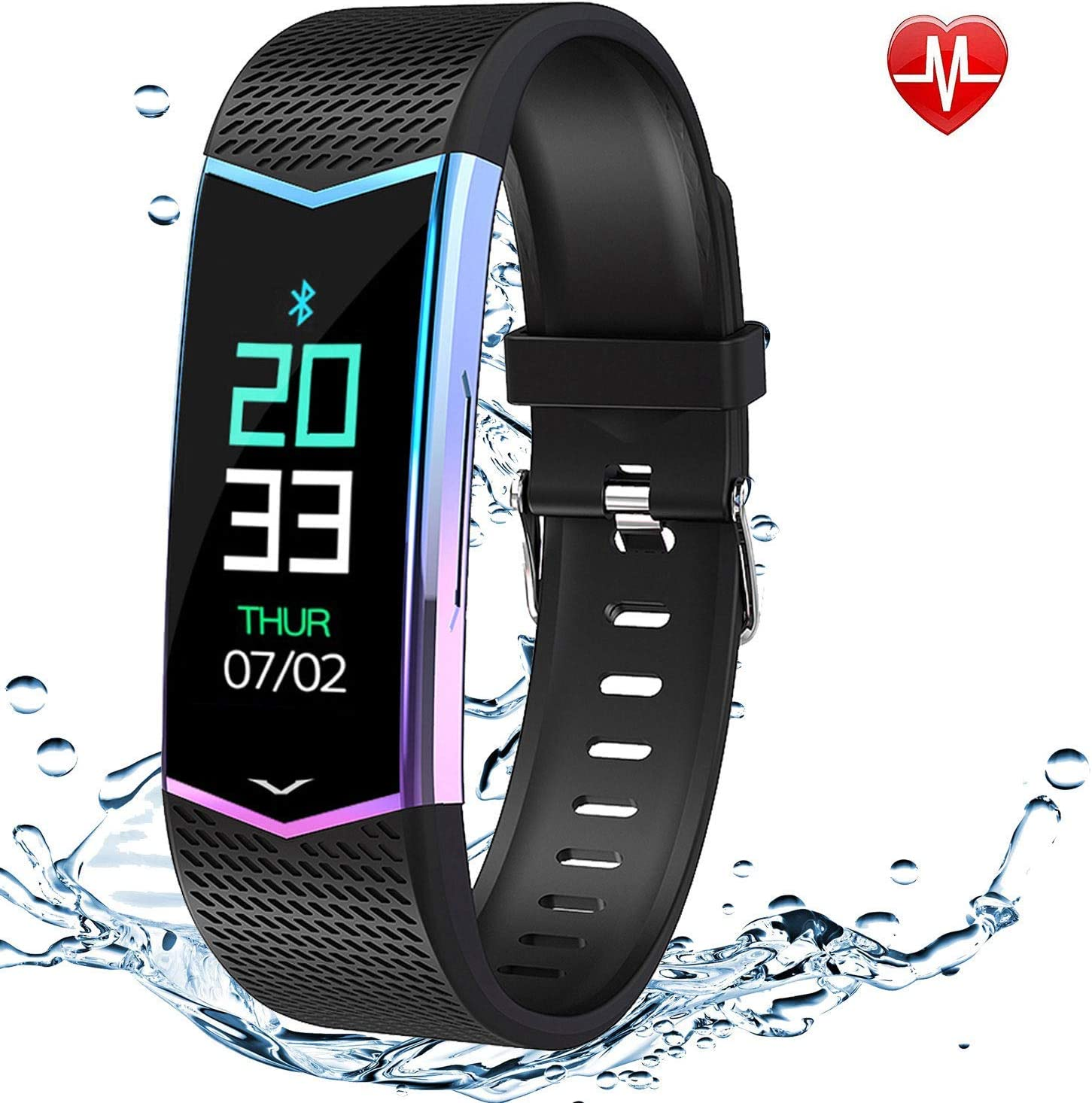 FitOkay Fitness Tracker, Waterproof Activity Tracker Smart Watch with Blood Pressure Heart Rate Monitor, Smart Wristband with Sleep/Step/Calorie ...