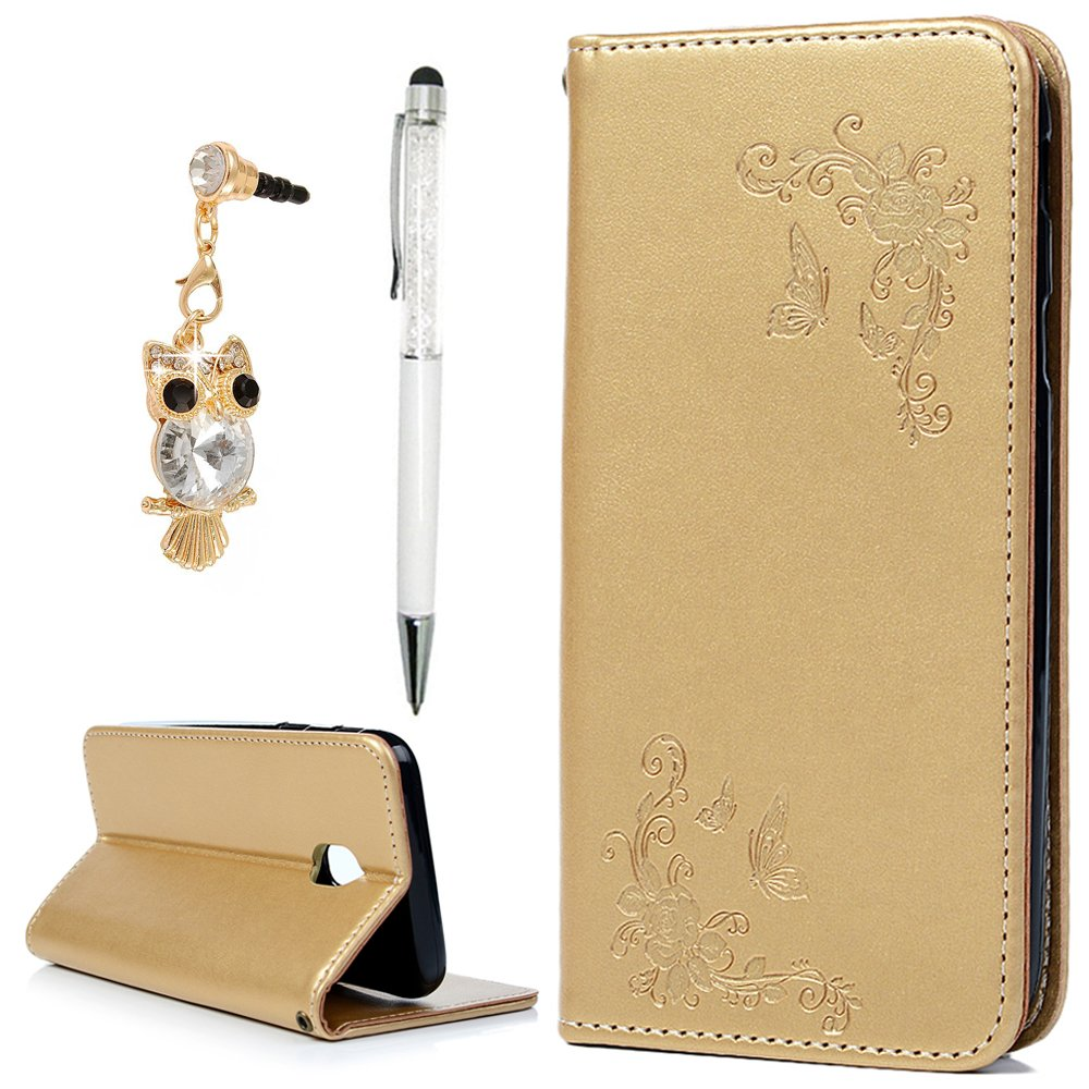 For Samsung Galaxy J3 2017 Case (SM-J330 Series), J3 Wallet Case, YOKIRIN PU Leather Flip Folio Case With Magnetic Closure Kickstand Card ID Holder & Dust Plug & Touch Pen for Samsung Galaxy J3, Gold NN6FBAZH208F-H-A-M1647-UK