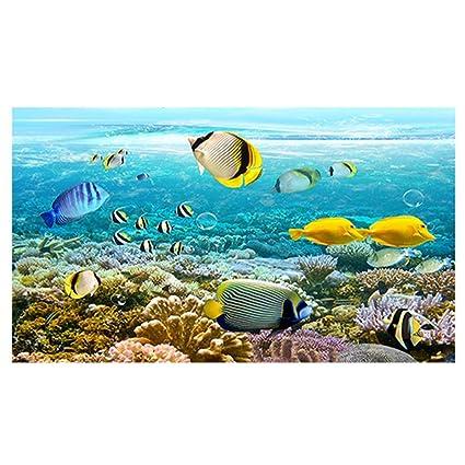 Jannyshop Fondo de acuario 3D Hd Acuario Decoración de fondo Pintura con engrosamiento de PVC Material