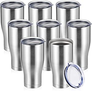 COKTIK 30 oz Stainless Steel Vacuum Tumbler with Lid (Sliver 8 pack) Double Walled, Durable Insulated Travel Mug for Travel Cups, Coffee, Tea and Hot Beverage,Gift for Men (Sliver, Set of 8)