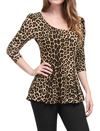 885b41b2345f32 Allegra K Women's Long Sleeves Scoop Neck Leopard Prints Peplum Shirt Brown  XS (US 2