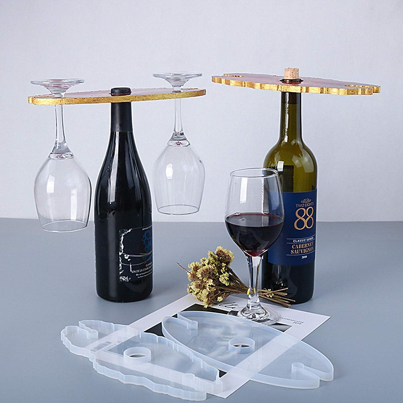 CREPUSCOLO Wine Rack Resin Molds Wine Glass Holder Molds Silicone Epoxy Resin Coaster Molds for Wine Bottle Holder 2Pcs