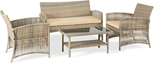 Aclumsy 4 Piece Patio Conversation Set Wicker Patio Furniture