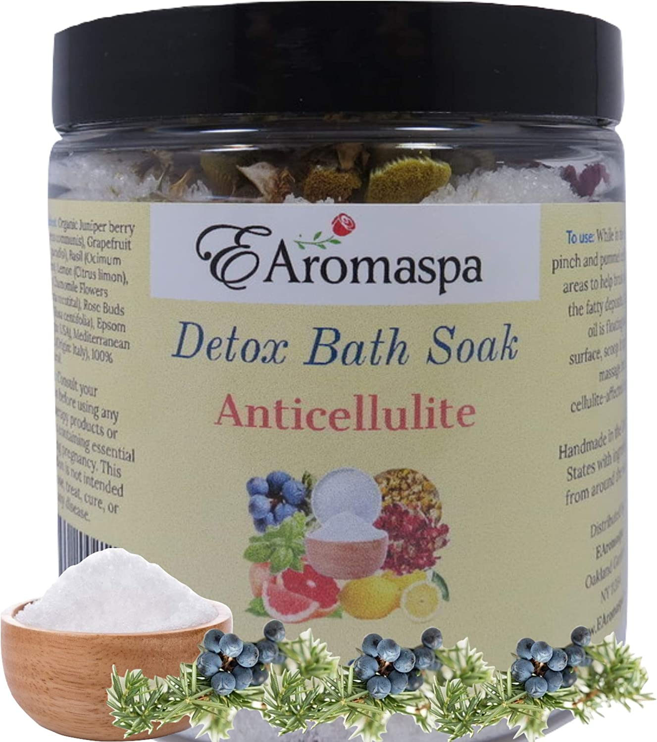 EAromaspa Anti Cellulite Detox Bath Soak for Body Cleanse, Toxin, Slim Down Soak, Bath Salts, Bath Soak with Organic Juniper Berry Essential Oils, Natural Celulitis Treatment 8oz