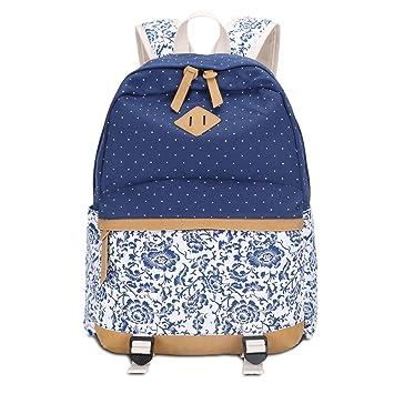 Mochila de lona para Mujer Casual Mochilas Escolares Backpacks Canvas (Azul): Amazon.es: Equipaje