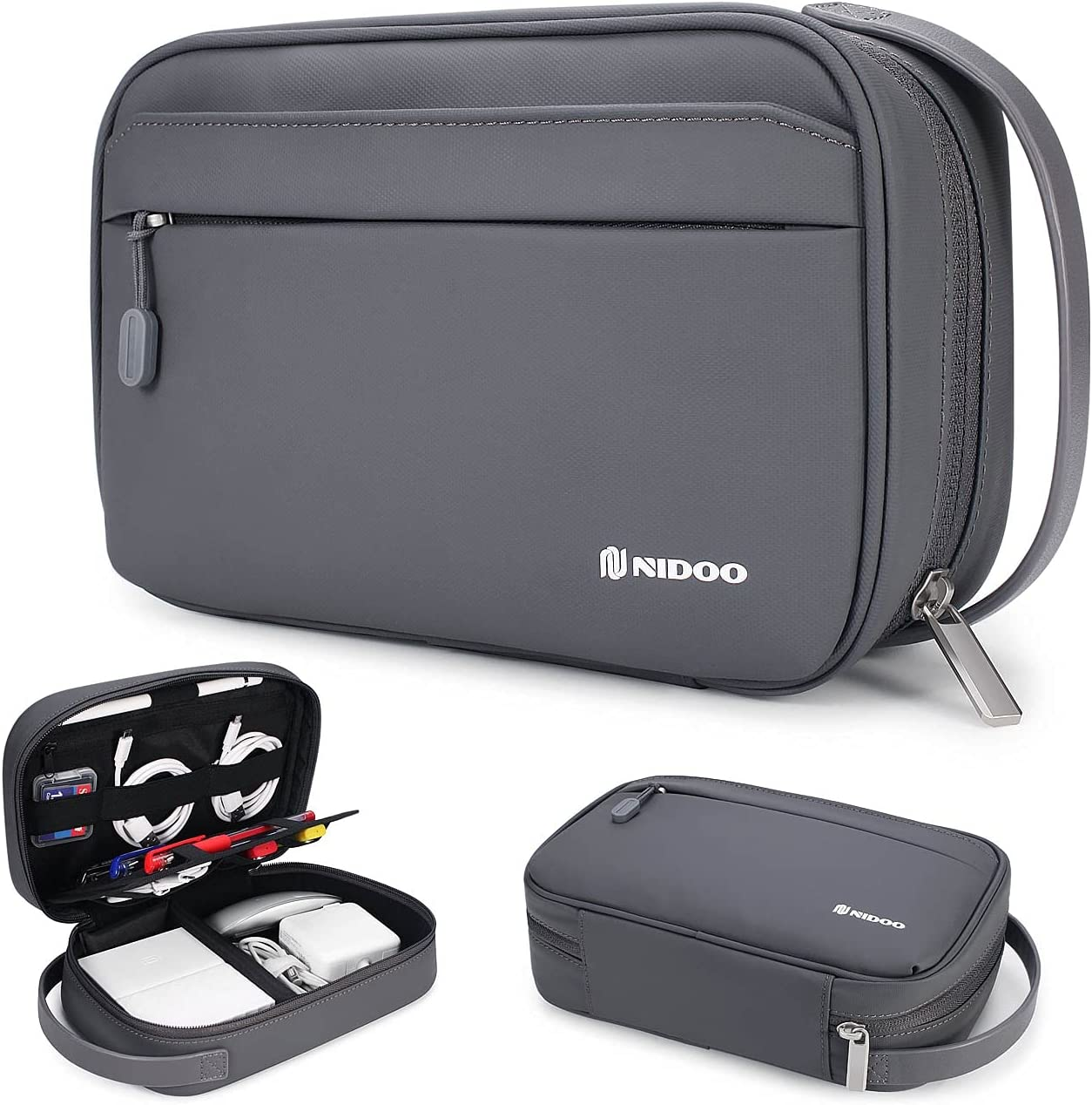 NIDOO Travel Cable Organizer Bag, Waterproof Electronic Accessories Case Portable Storage Bag for Hard Drives, SD Card, Charging Cable, Power Adapter, iPad Mini, Kindle, Mouse, Usb, Phone, Airpods Etc