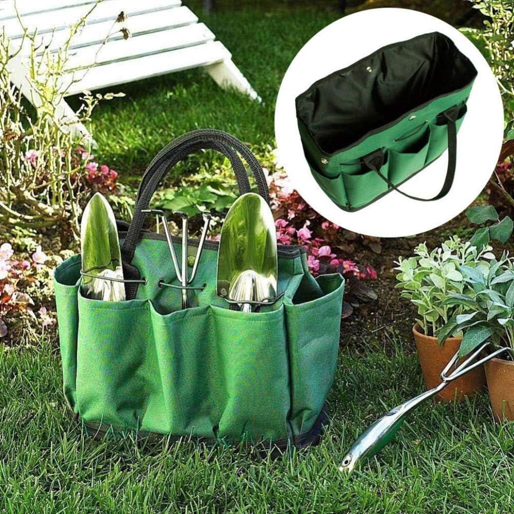 Portable 600D Oxford Cloth Multi-pocket Garden Tools Storage Bag Carrier Tote Khaki