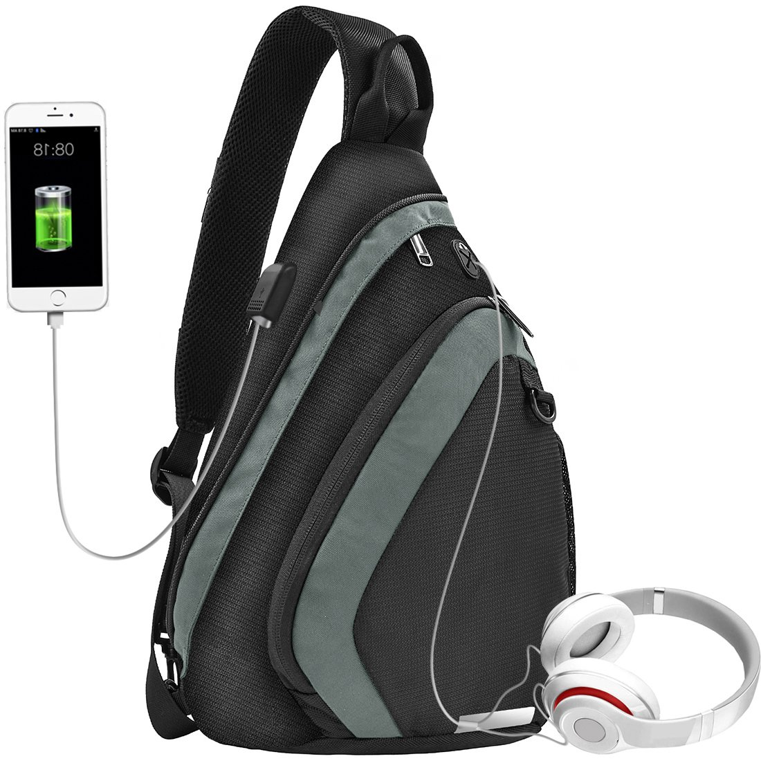 Sling Bag Water-Resistant Shoulder Chest Crossbody bags Lightweight Travel Hiking Multipurpose Daypacks with USB Charging Port Anti Theft Outdoor Backpack Up to 10.5 Inch Tablet for Men Women Green