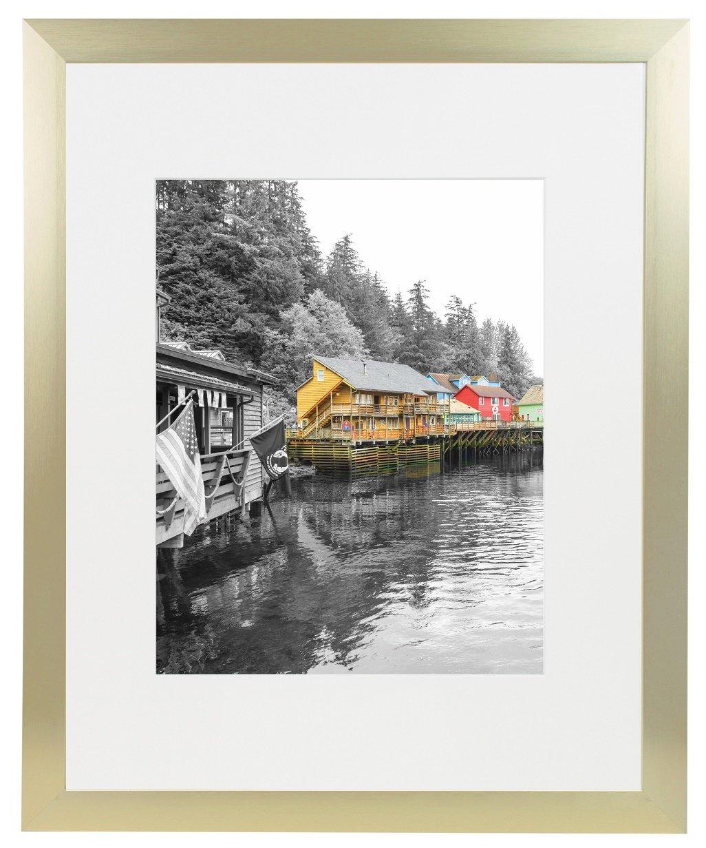 Golden State Art Gold Color Satin Aluminum Landscape Or Portrait Picture Frame With Ivort Color Mat & Real Glass (16x20)