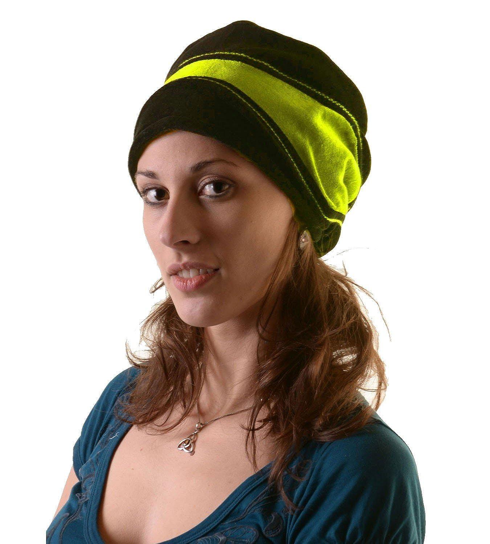 Kunst und Magie Mütze Hut aus Samt Fleecefutter Hippie Lagenlook Goa mit Ziernaht
