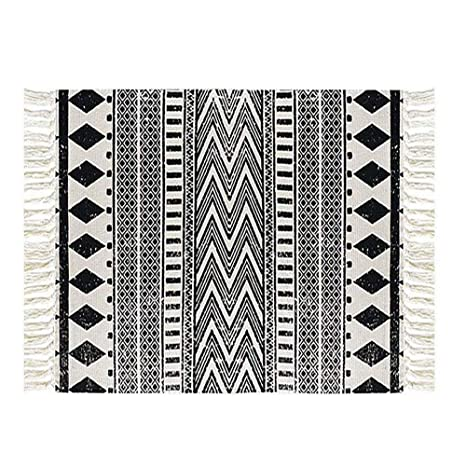 Floralsea Cotton Rug Washable 2x3 Feet Bohemian Black White Hand Woven Area Rug Runner Throw Rugs For Kitchen Bedroom Laundry Room
