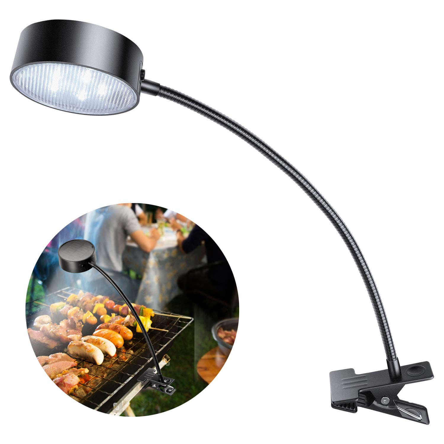 LeiDrail Grill Light LED Solar BBQ Lights Super Bright Wide-Angle Barbecue Lamp Flexible Gooseneck Outdoor Waterproof Anti-Shedding Clip for Charcoal Electric Desk Work Bench
