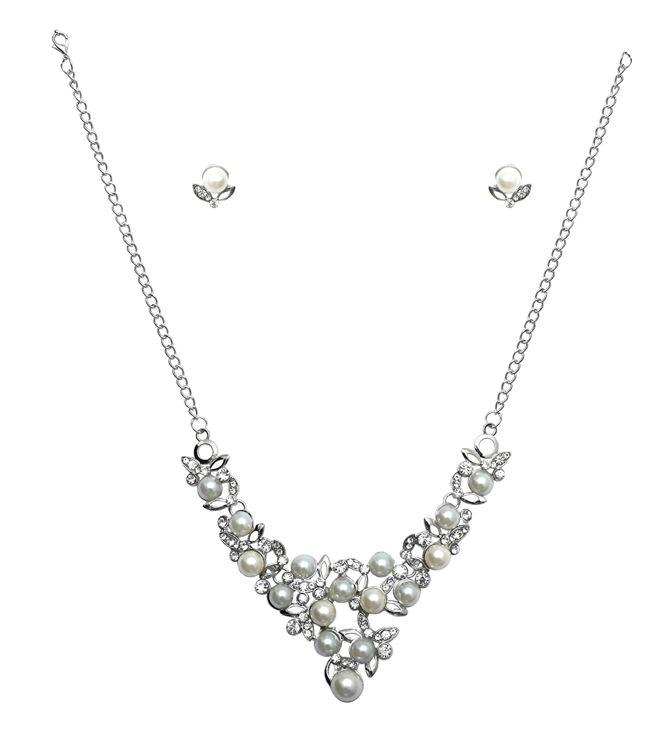 SILVER /& PEARL DROP NECKLACE IN WHITE **UK SELLER** WEDDING PRESENT