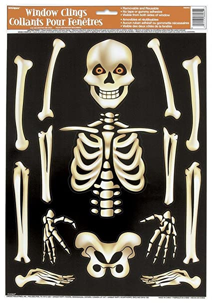 skeleton halloween window cling sheet