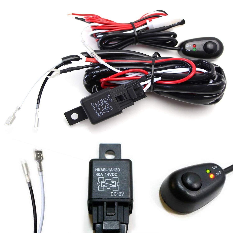Ijdmtoy 1 Led Light Wiring Harness W Indicator On Off Scion Xa Alarm Diagram 2006 Switch Relay Kit For Lightbar Single Channel Car Motorbike