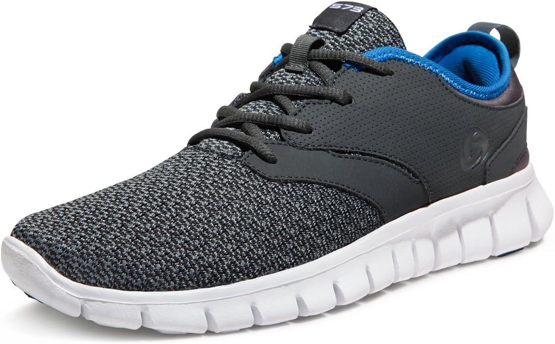 TSLA Boost Zapatillas deportivas para correr y caminar para hombre, Gris (Ligero flexible (x574) – gris oscuro y azul), 41.5 EU: Amazon.es: Deportes y aire libre