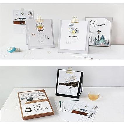Caveen Standing Desk Calendar 2018 With Metal Clip Monthly Desktop Agenda Planner Creative Elegant Standing Calendar For Home Office Using Comfortable ...