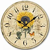 "14"" Decorative Clock, Eruner Wooden [Sunflower] Cafe Bar Lancaster Paris Wall Clock Retro Styled Non-Ticking Home Decor (HQ5, 14-IN)"