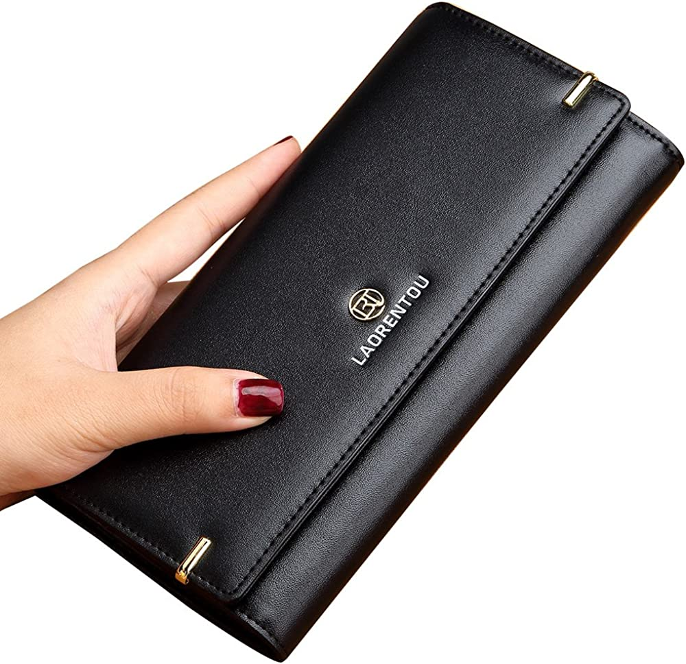LAORENTOU Genuine Leather Women Bifold Wallet Long Clutch Wallets Card Holder