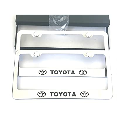 MAX WHOLESALE Stainless Steel License Plate Frame Rust Free With Bolt Caps For Toyota Cover (2-Chrome): Automotive