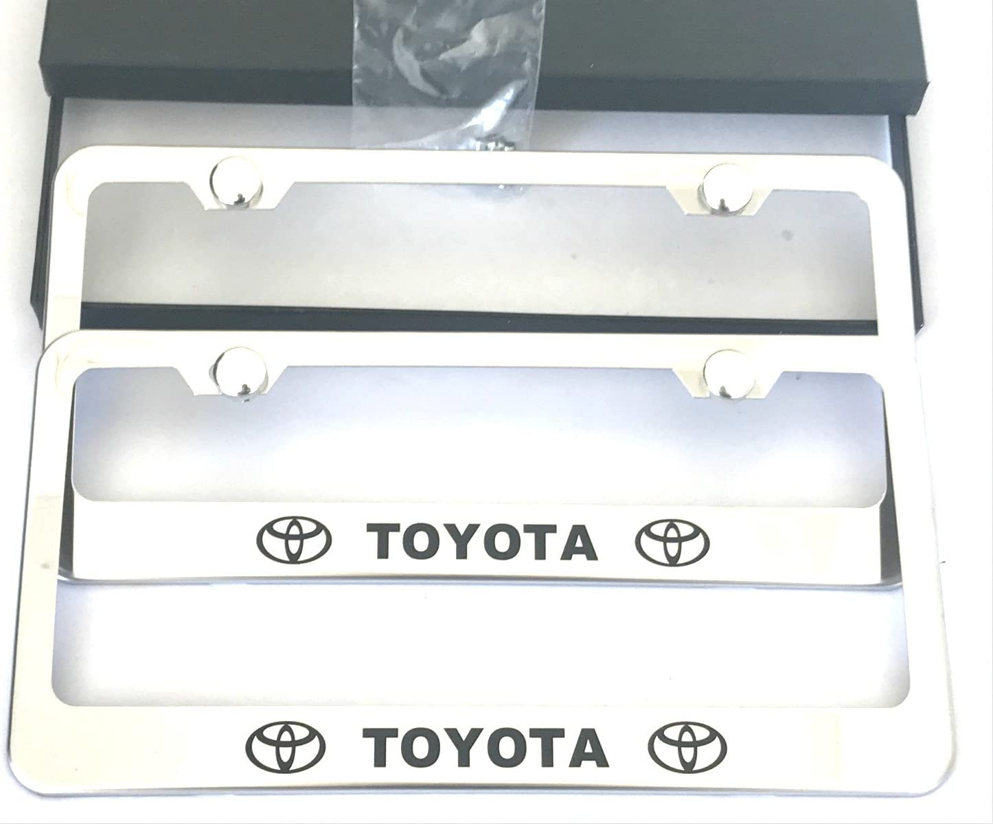 2-Black MAX WHOLESALE Stainless Steel License Plate Frame Rust Free With Bolt Caps For Toyota Cover