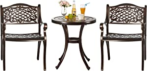 Nuzanto 3 Pieces Small Metal Outdoor Patio Bistro Set Bistro Table Set with Ceramics Top and Armhairs Outdoor Patio Furniture Set 3 Piece Antique Bronze Durable Rust Weather Resistance (T460C25)